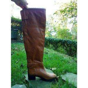 Zara Tan Zip Up Boots sz 7