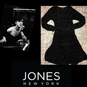 🦋Jones New York•Velvet Laser Cut Bohemian Dress