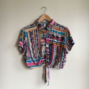 American Apparel Tie Up Blouse