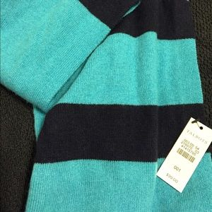 NWT Talbots turquoise and navy cashmere scarf.