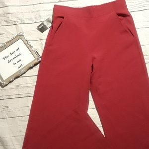 High waisted wide leg pants burgundy as L