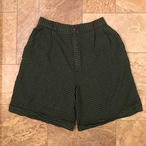 Vintage High Waist Green Houndstooth Punk Shorts