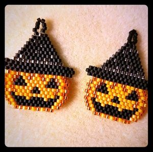 Handmade jack O earrings
