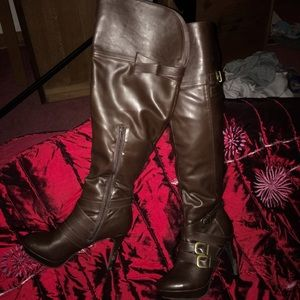 over the knee brown boots
