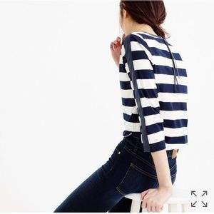 {J.Crew} Rugby striped T-shirt with back zipper S
