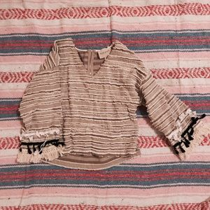 Moon river crochet fringe boho blouse