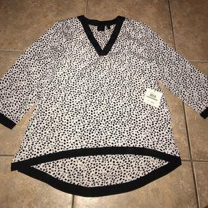 Raella |  NWT Dalmatian print sheer tunic top