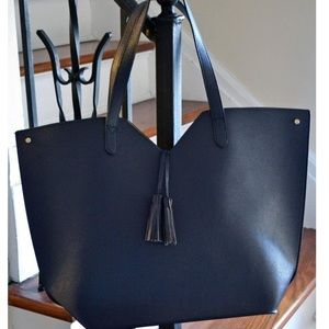 Neiman Marcus Faux Leather Navy Blue Tote Bag -NEW