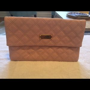 Marc Jacobs pink quilted clutch handbag