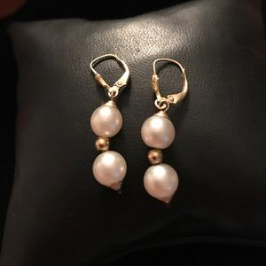 14K Yellow Gold & Pearl Earrings