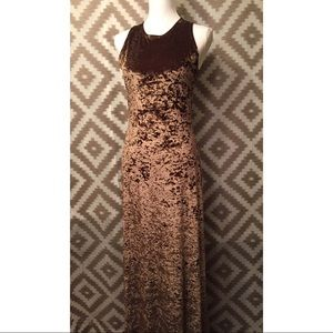 Vintage 90s Brown Crushed Velvet Maxi Dress!