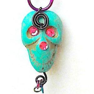 Halloween Voodoo Skull Necklace with fuchsia chain