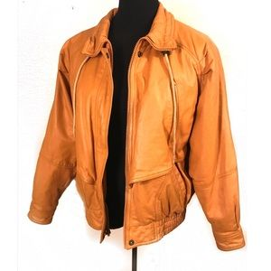 Vintage mustard 100% leather bomber jacket