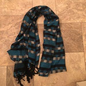Vintage Gypsy Boho Blue Flannel Print Scarf Shawl