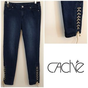 Cache Lace Up Skinny Jeans