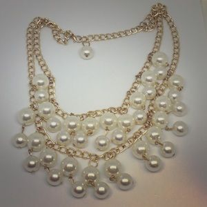 Jewelry - Cascading Pearl Necklace with Matching Earring
