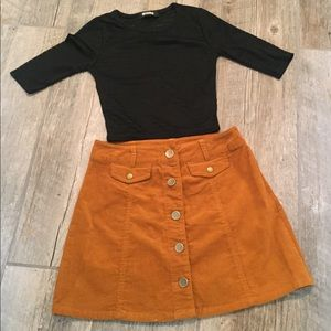 F21 corduroy skirt and Missguided black top