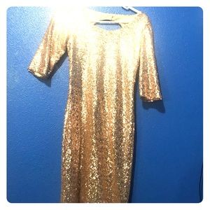 Gold Sparkly Full Sequin Dress