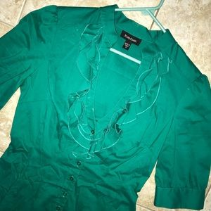 bebe Ruffled Low V-neck Green Button Up