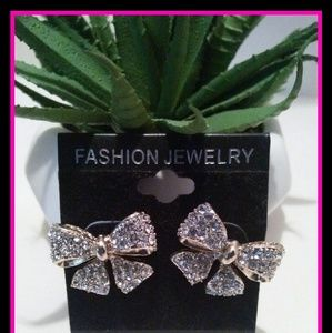 Gold Cubic Zirconia large Bow earrings