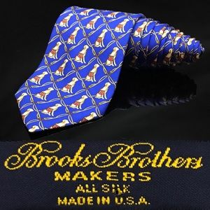 Brooks Brothers Makers Blue Lab 🐕 Fishing 🎣 Tie