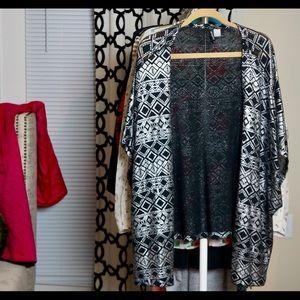 H&M Silver Aztec Kimono Cardigan