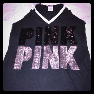 PINK Black Sparkly Tee
