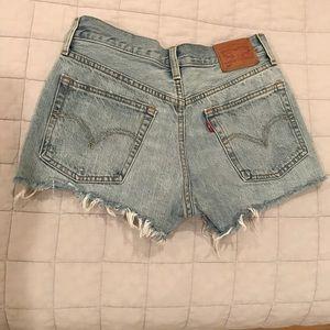 Levi's distressed denim jean shorts size 25