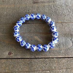 Handmade Blue/White Floral Bracelet