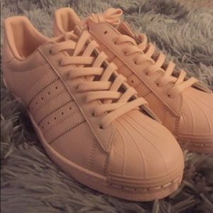 Baby Pink customized adidas superstars
