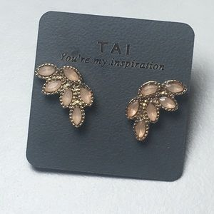 Tai Gold Tone Pink Contemporary Pierced Earrings