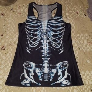 Goth Skeleton Shiny Tank Top