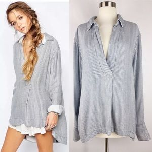 Free People On the Road Oxford Tunic Shirt Top