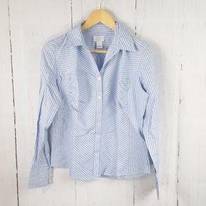 Ann Taylor LOFT Stripe Button Down Long Slv Shirt