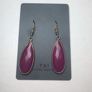 Vintage Tai NWT Pink Raspberry Gemstone Earrings