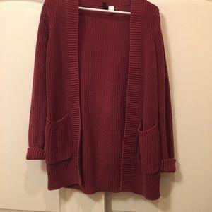 Maroon Red Knit Cardigan