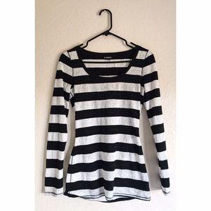 Express Black & White Striped Floral Shirt