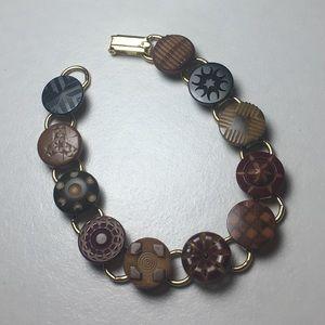Vintage Carved Buttons Handmade Gold Tone Bracelet