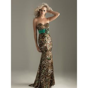 Strapless Prom Dress - Animal Print & Teal Size 4