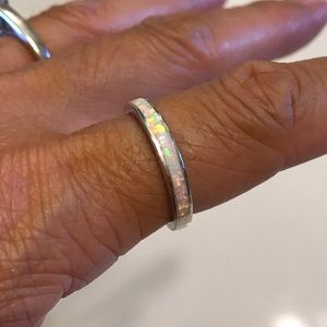 Jewelry - Sterling Silver White Lab Opal Band