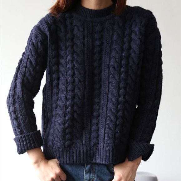 Hm Sweaters Dark Navy Blue Cable Knit Sweater Poshmark