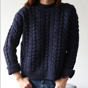 Dark Navy Blue Cable Knit Sweater