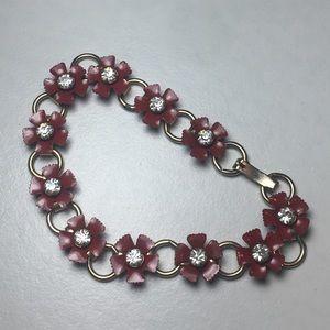 Vintage Red Enamel Rhinestone Flower Link Bracelet