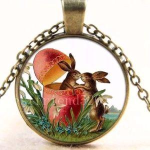 Easter bunny rabbit egg necklace best friends kiss
