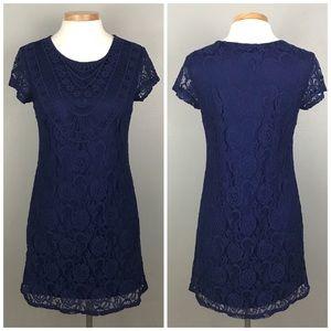 Xhilaration Navy Blue Crochet Lace Boho Dress