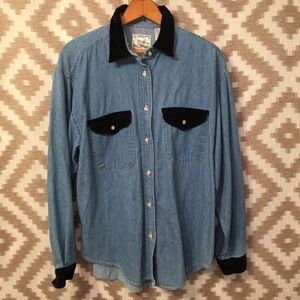 Vintage Denim & Black Corduroy Button Down Shirt!