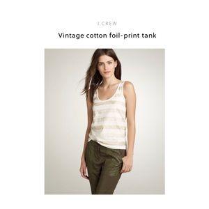 J. Crew Vintage Cotton Foil Print Tank-Beige/Cream
