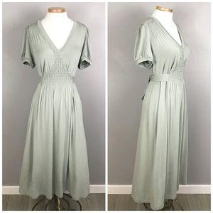 Mossimo Sage Green Short Sleeve Boho Maxi Dress