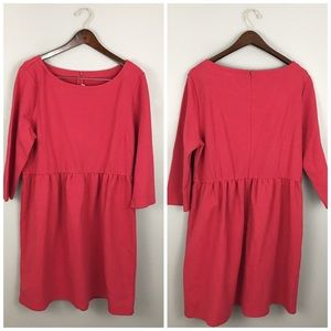 LOFT NWT Red Ribbed Stretch 3/4 Sleeve Dress