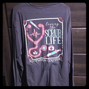 Gray Nursing T Shirt. living the Scrub life. XL